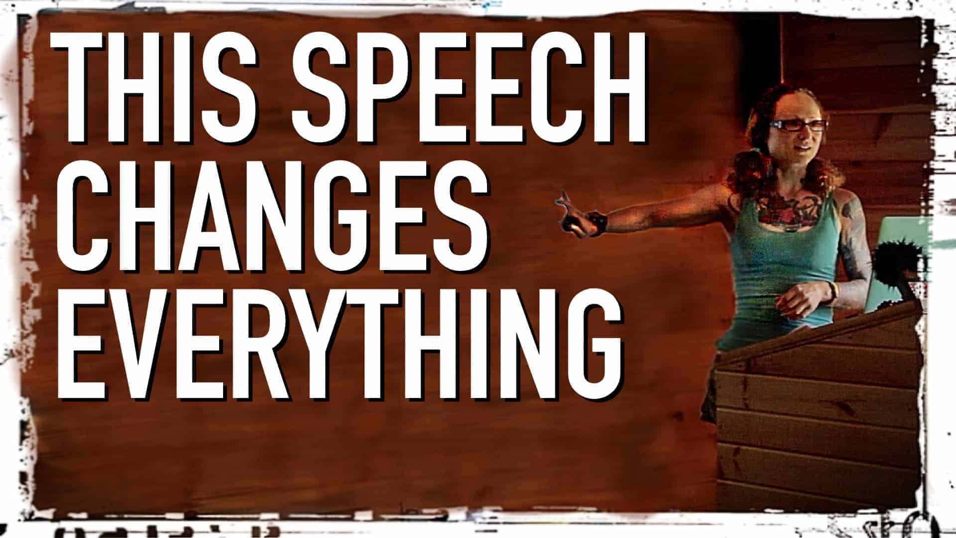 """Emily Moran Barwick of Bite Size Vegan is shown on stage behind a lectern. She is gesticulating with her arms. To the left of this image in large white letters are the words: """"This speech changes everything"""""""