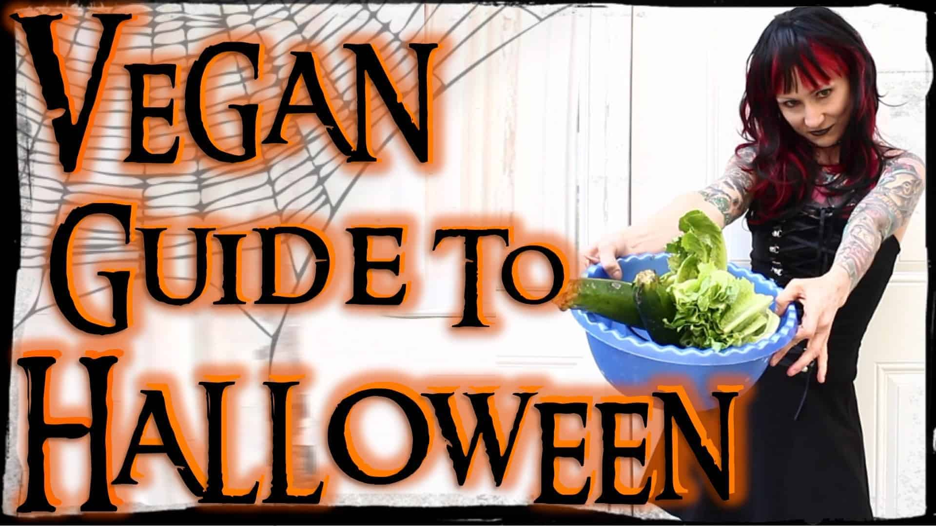 Emily dressed up as a zombie holding a tray of vegetables with the words Vegan guide to Halloween in orange