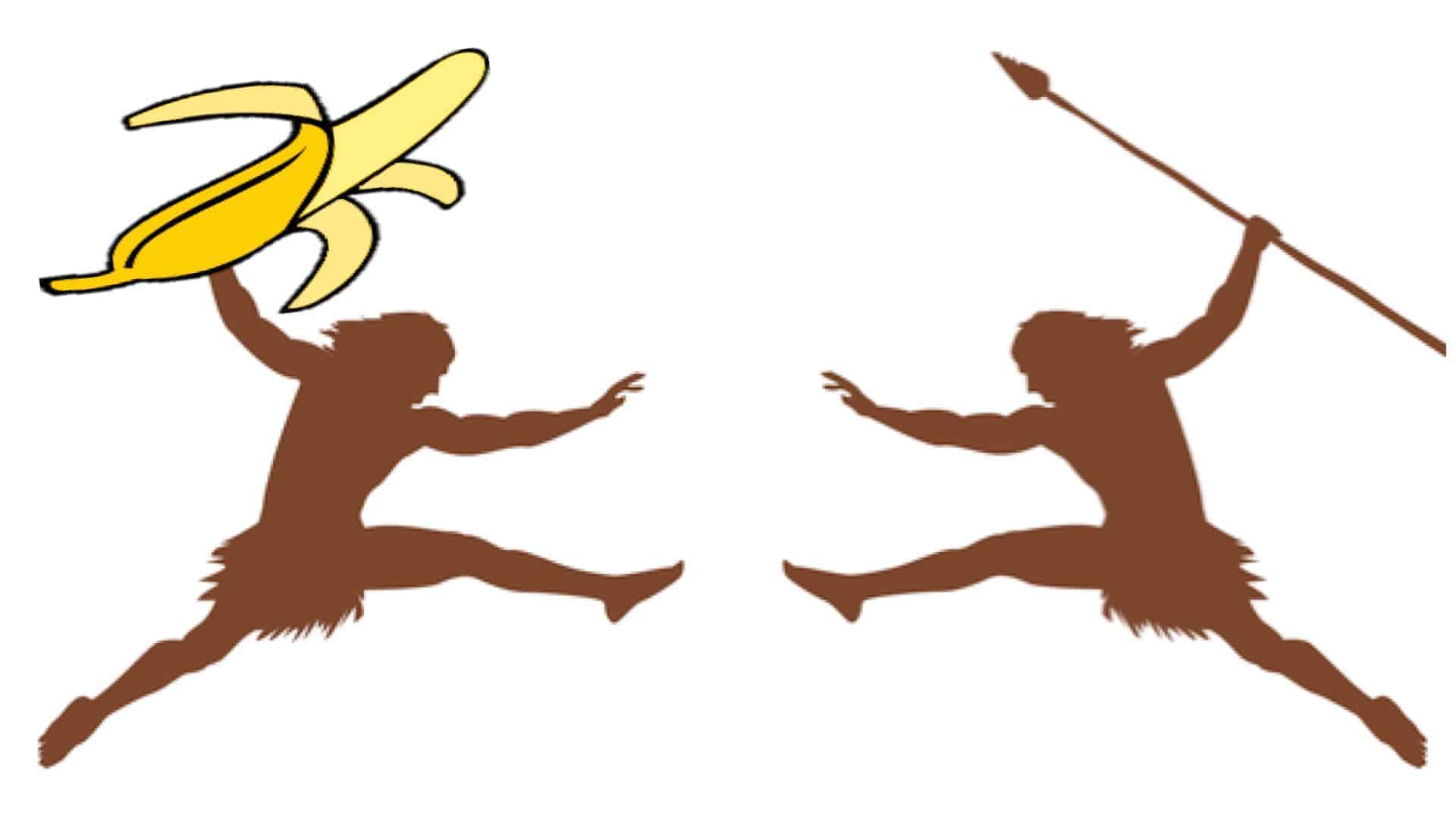 Two similar silhouettes are shown. Their outline would suggest they are of primitive man. They are leaping towards each other. The one on the right is holding a spear. The one on the left a banana.