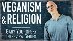 """Author and vegan activist Gary Yourofsky is shown along side the words """"Veganism and religion - Gary Yourofsky interview series"""""""