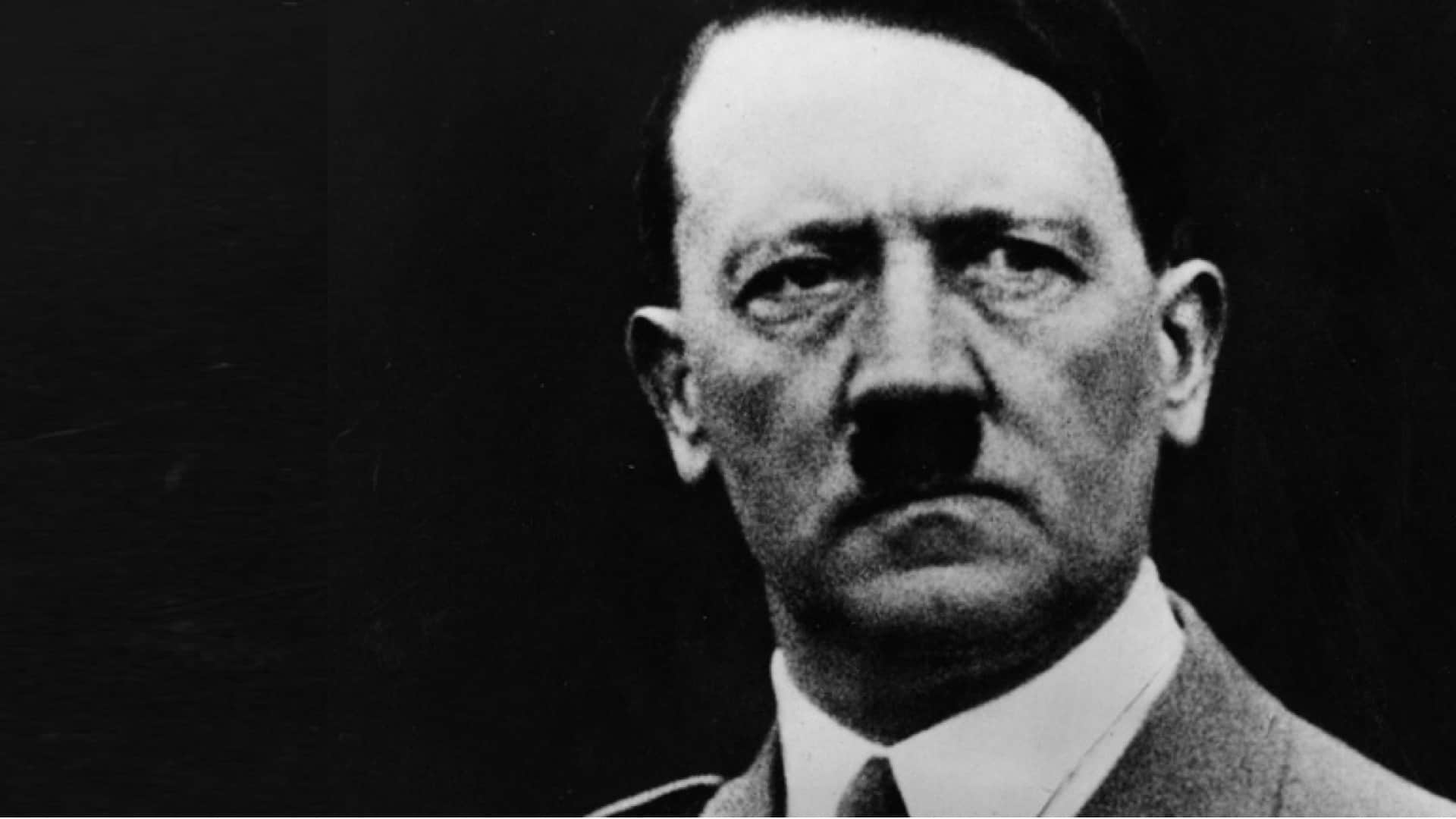 The image shows a close-up of Adolf Hitler.