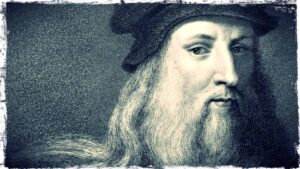 A close-up image of Leonardo da Vinci is shown. The image is monochromatic and appears to be rendered in graphite.