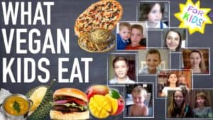 """A white and yellow star is shown in the top right-hand corner. The appearance is one rendered in crayon. Across the center of the star are the words """"For Kids"""". There are a number of photographs of children's faces below it. To the left are the words """"What vegan kids eat"""" Surrounding the text are a number of images of delicious vegan meals."""