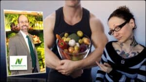 Dr. Greger of NutritionFacts.org is seen as an inset photograph on the left. In the center is a close-up of a person holding a bowl full of various vegetables. On the right is an image of Emily Moran Barwick of Bite Size Vegan she is pointing towards the vegetables.