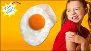 """A white and yellow star is shown in the top left-hand corner. The appearance is one rendered in crayon. Across the center of the star are the words """"For Kids"""". In the center is a close-up of a fried hen's egg. Next to this is shown young child, turning as if looking at the egg. There is a look of disgust on the child's face."""