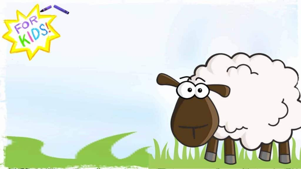 """A cartoon sheep is shown standing in a field of grass. The sky is blue and in the upper left hand corner is a colorful start, with the appearance that it was rendered in crayon. Across the center of the star are the words """"For Kids""""."""