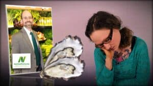 Dr. Greger of NutritionFacts.org is seen as an inset photograph on the left. In the center is an image of oyster shells. On the right is an image of Emily Moran Barwick of Bite Size Vegan falling asleep sat upright.