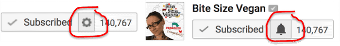 Two close-up screen captures are shown from YouTube.  They each show Emily Moran Barwick of Bite Size Vegan.  The first she is pointing towards a subscribe check box.  The second a notification bell icon.