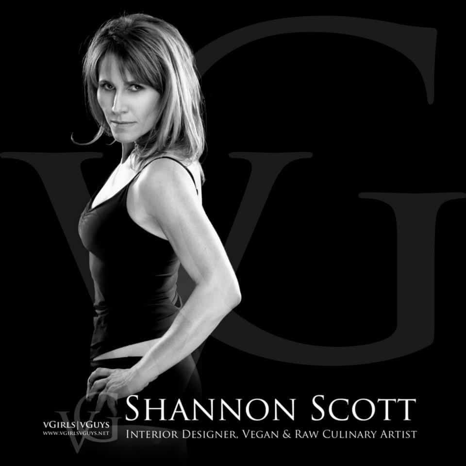 Left profile of Shannon Scott an interior designer, vegan and raw culinary artist  with her hands on her hips, on black background with her name in white lettering