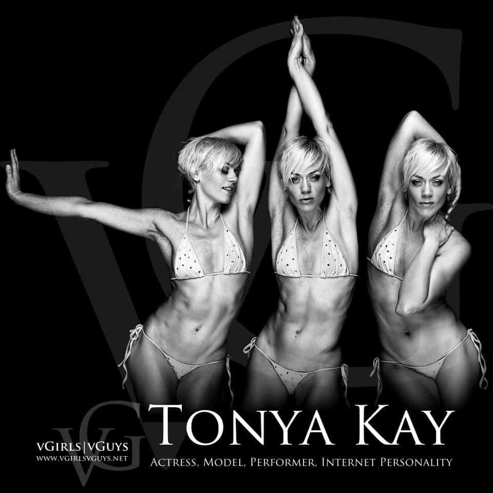 Three poses of Tonya Kay, actress, model, performer, internet personality in a bikini on a black background with her name in white lettering