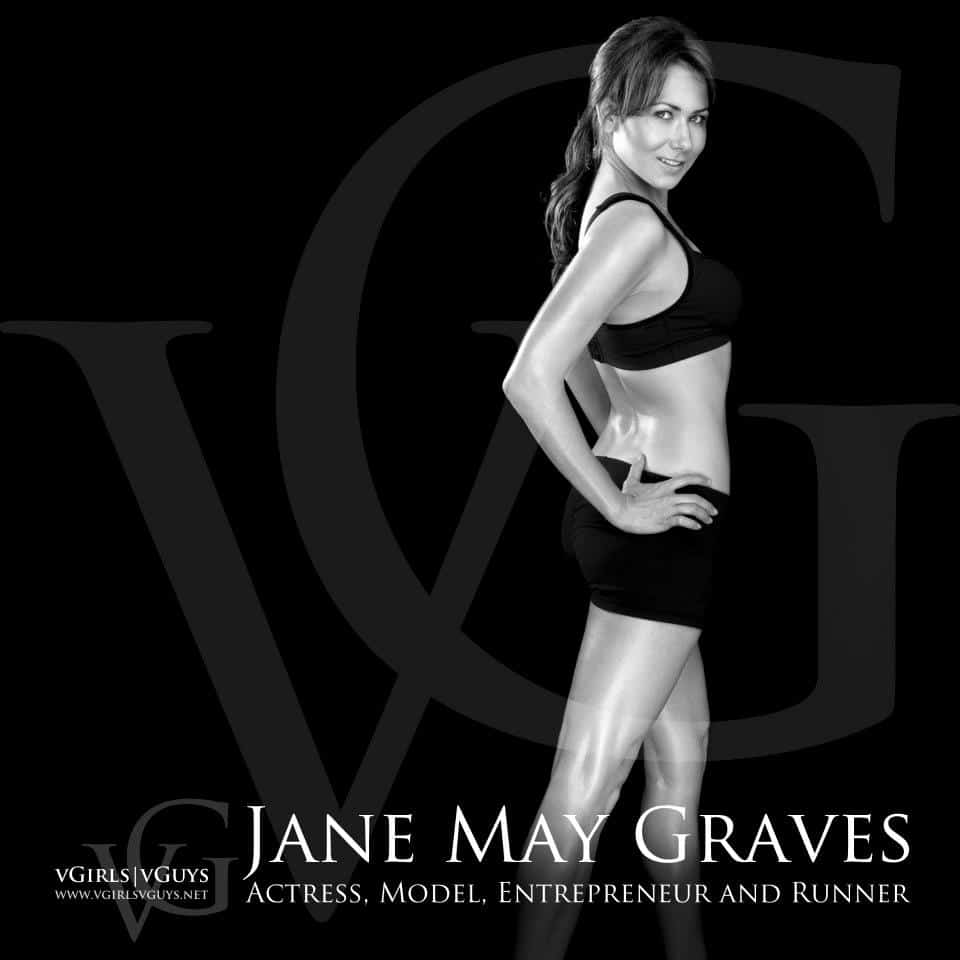 Right profile of Jane May Graves actress, model, entrepreneur and runner n workout attire, with black background and her name in white lettering
