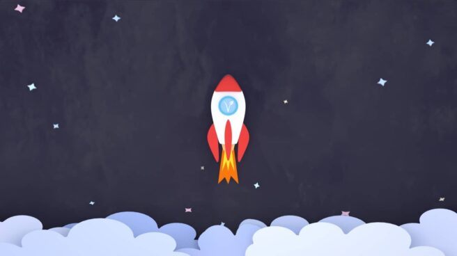 An illustration of a rocket with a vegan V inside its circular window, launching upwards through the clouds, symbolyzing going vegan.