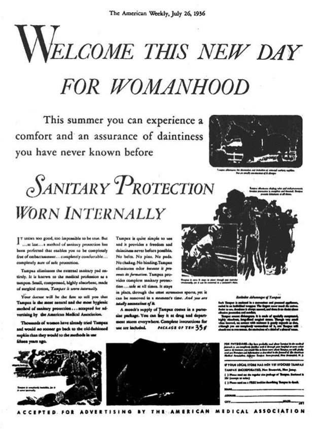 """Vintage Tampon advertisement: """"Welcome this new day for womanhood... Sanitary protection worn internally"""""""