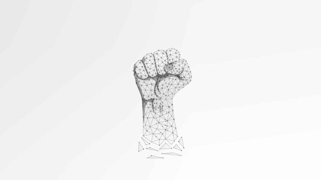 A raised fist of activism, illustrated in 3D polygon mesh style, in a call to get active.