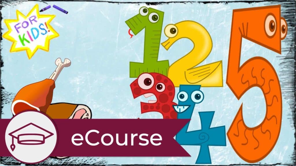 """A white and yellow star is shown in the top left-hand corner. The appearance is one rendered in crayon. Across the center of the star are the words """"For Kids"""". Below the star are two cartoon """"meat"""" cuts. On the right, in bright colors are the numbers one to five in cartoon form. A graduate cap icon is in the lower left, signifying this is an eCourse."""