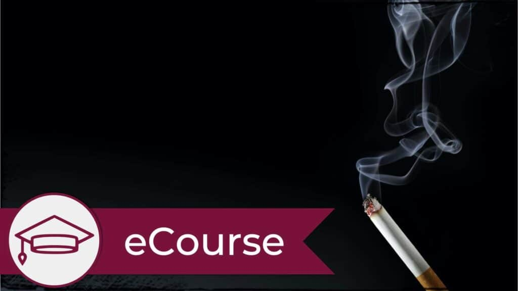 A lit cigarette with a trail of smoke rising into the air against a black background. A graduate cap icon is in the lower left, signifying this is an eCourse.