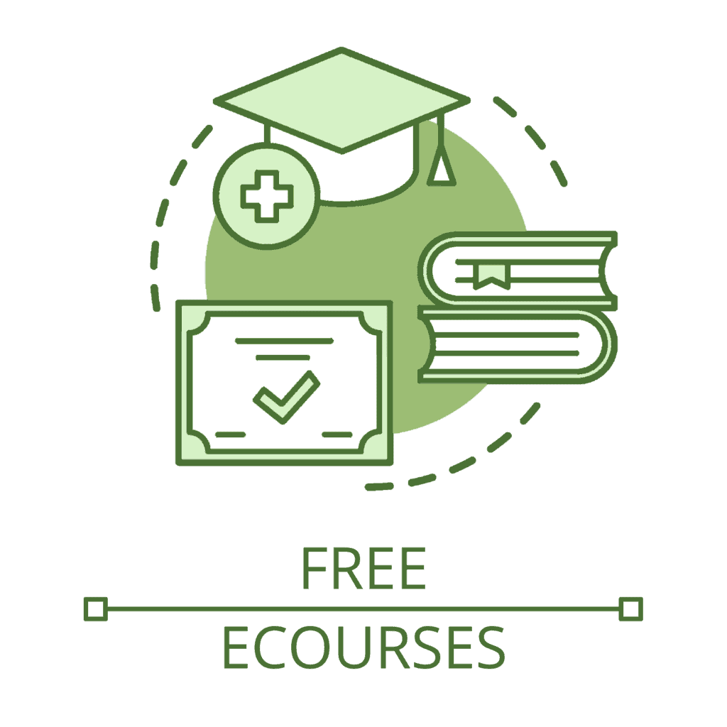 """An illustrated circular icon above the text """"Free eCourses"""". A graduate cap, two stacked books, and a course completion certificate for an online course."""