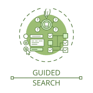 An illustrated icon of a guided search, featuring a magnifying glass centered on a book with four circled question marks extending from its edges, a series of selectable multiple choice options, and a logic tree of checkboxes leading to various paths in a search.
