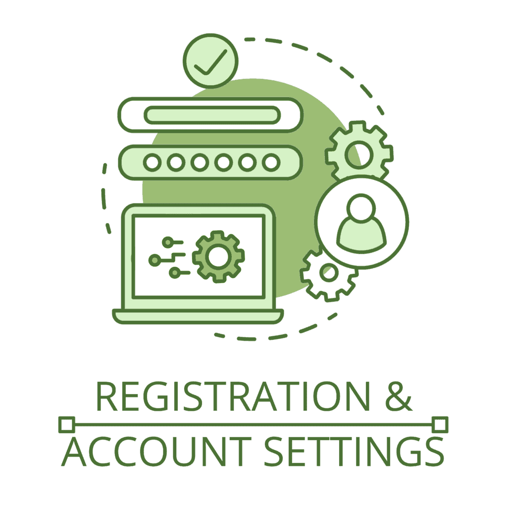"""An illustrated icon of user account registration, featuring a user profile icon, and an open laptop computer with account settings cogs, all above the text """"registration and account settings""""."""